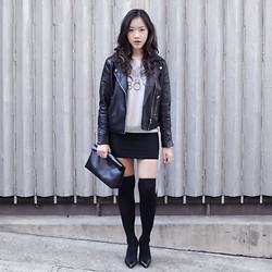 Emily C - Asos Leather Jacket, Boy London Eagle Sweat - School's Out