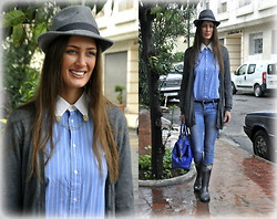Amina Allam - H&M Felt Hat, Zara Cardigan, Ralph Lauren Striped Shirt, Gap Blue Belt, Mim Slim Jeans, Yves Saint Laurent Bag, Burberry Rain Boots, Efox City Collar Pin - Another rainy day - so what :)
