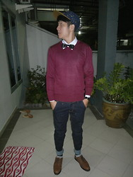 Hugo Adrian - Snapback, Maroon Sweater, Bow Tie, Watch, Amble Footwear - Come Back Again !