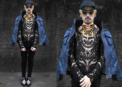 Andre Judd - Bauhaus Leather Jacket Worn As Cape, Miss Mannequin Tattoo Lace Top, Glamgoddess Embellished Cats Eye, Underground Snow Leopard Creepers, Angular Visor Cap, Christopher Munar Tri Layered Choker Plates - DAY 3 BAUHAUS CHALLENGE : LEATHER AND LACE