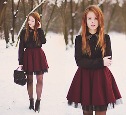Wioletta Mary Kate - Vagabond Shoes, Yeah Bunny Skirt, Cropp Shirt, Romwe Bag - Burgundy Skirt 31.01