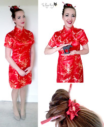 Claire Raywood - The Pearl Market   Beijing Chinese Dress, Handmade Flower Hair Band, Chop Sticks - Year of the Horse