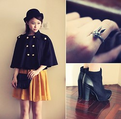 Jasmine L - Dolube Black Cape, Net Black Clutch, Romwe Suede Bootees - Harry's Magic Cape ( 新年快樂! )