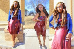 Rachelle M - Gojane.Com Faux Leather Skirt, Charlotte Russe Tribal Bustier - Faux Leather Burgandy Skirt