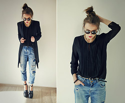Darina Suprun - Mango Blouse, Zara Jeans, Urban Outfitters Glasses, Jeffrey Campbell Boots - Drops of jupiter