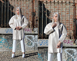 Cindy Karmoko - Cindy Karmoko Futuristic Coat, Jeffrey Campbell Skully Shoes, Cindykarmoko Pants - White is Everything