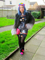 LawAKABettie @@ - Asos Pom Pom Headband, Bank Fashion Faux Fur Coat, D.I.Y Pom Pom Shoes - Rainbow Drops