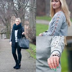 Angelika Martko - Pullover, Braclet, Boots - BLACK AND GRAY