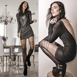 Elle-May Leckenby - Shattered Glass Low Back Dress, Tabbi Socks Secret Lines Sheer Tights - Dancing in the dark