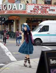 La Carmina - LaCarmina.com - Carina E Arlequin Blue Lolita Dress, Yosuke Laser Cut Out Boots, Holt Renfrew Faux Fur Scarf, Angelica Brigade Hair Flowers - A fashion blogger in Portland, Oregon. Teal navy hair color