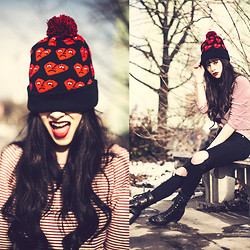 Rachel-Marie Iwanyszyn - The Orphans Arms Sad Heart Knit Beanie, Bdg Shirt, Asos Pants, Vintage Boots - SAD HEARTS.