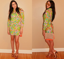 Juliana Rosina - Theory Neon Mini Flap Bag, Yves Saint Laurent Tribute Sandal, Mykita Sepp - Floral Print Dress for Summer