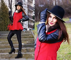 Panda Mone - Sammydress Coat With Basque, Moschino Folk Bag, Gianvito Rossi Ankle Boots, Zara Hat With Chain - Lady in Red.