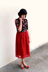 Yunita Yapi - New Look Black Flower Turtle Neck, D Fuse Beige Red Kitten Heels, Red Skirt - Lunar New Year OOTD