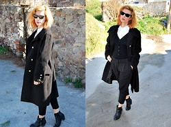 Betty Passia - Bellinp Coat, My Collection Pants, Zara Cardigan, Fullah Sugah Boots - Black and white