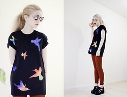 We Are Hairy People - Hand Painted Hummingbirds Tee, Hand Painted Riding Pants, Wahp Sunnies - Hummingbirds