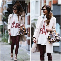 Virgit Canaz - Louis Vuitton Speedy Bag, Chicnova Paris Sweater, Mango Burgundy Pants, Zerouv Two Shades - Paris