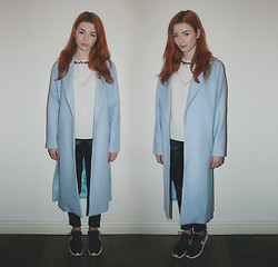 Hannah Louise - Frontrowshop Longline Baby Blue Coat, Primark Jewelled Neckline Top, Armani Exchange Leather Trousers, Nike Roshe Run - Baby Blues
