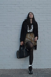 Daniela S. - Kenneth Cole Wool Coat, Beanie, Distressed T Shirt, Pacsun Skater Skirt, Betsey Johnson Tights, Sneaker Wedges, Aldo Bag - DAMAGE CONTROL