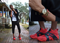 Joshua McLeod - Yves Saint Laurent Ysl Tshirt, Asos Gold Watch, Cotton On Red Bracelet, Nike Air Veer, H&M Hoodie, H&M Harum Pants - Rainy Day Comfort