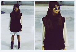 Peapeed C. - Zara Dark Collection Poncho, Topshop White Piquet High Waist Shorts, Cotton On White Button Up Shirt, Vintage Teaglasses - Wear what you are.