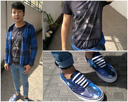 Hugo Adrian - Cheap Monday Pants, Vans Galaxy Shoes, Shirt - DIY Galaxy Shoes
