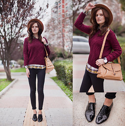 Viktoriya Sener - Zara Fedora Hat, Sheinside Burgundy Sweater, Rosewholesale Bag, Braska Brogues - WEEKEND NEVER ENDS