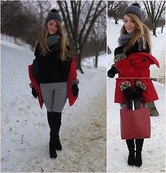J C - Rosewholesale.Com Bag, Knee High Boots, Ebay Sweater - Red black and white - my ootd