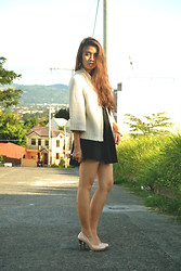 Munik Martinez - Black Skater Skirt, Black Tube Top, Japan Knitted Coat Like Cardigan, Nude Heels - Missy