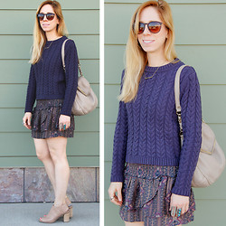 Melissa P. - Cotton On Cable Knit Sweater, Forever 21 Tiered Mini Skirt, Kate Spade Cobble Hill Penny Bag, Mossimo Peep Toe Ankle Boots - Sweaters and Skirts