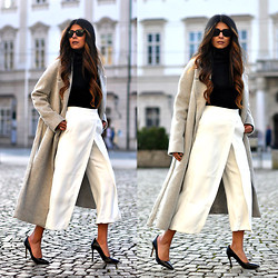 Maya Lorelei - Cos Coat, Zara Culotte Pants, Zara Pumps - Swing