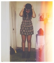 Jada Bennett - Forever 21 Floral Black/Multi Dress, Thrifted Brown Leather Boots, Claire's Flower Band - Inner Sunflower