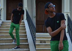 Joshua McLeod - Brxtn Baseball Hat, Standard Cloth Green Pants, Converse Sneakers, Ray Ban Sunglasses, Comme Des Garçons T Shirt - A Beautiful Day to PLAY