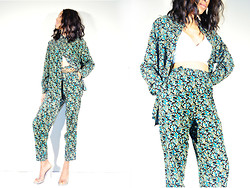 Crystal Wood - She Tiger Vintage Floral Pants, She Tiger Vintage Floral Blouse, She Tiger Vintage Clear Kitten Heels, She Tiger Vintage White Leather Crop Top - SHETIGER: Print Suit