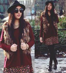 Kelsey Nguyen - H&M Hat, Steve Madden Fur Vest, Q Sweater, Q Skirt, Wow Vintage Sunglasses, Mall Of Style Spiked Necklace, Bitz & Pieces Boutique Faithful Bracelet, Missguided Boots - LUNAR CITY