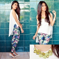 Marjh Collado - Thrifted White Sleeveless W/ Pleated Chiffon Back Design, Rara's Closet Floral Pants, Janylyn White Pointed Shoes - Ere The Flowers Unfold