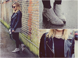 Lily Melrose - Topshop Houndstooth Boots, Forever 21 Pleather Jacket - Little lord