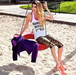 Lainey G - Ruby La Namaste Tank, Pheel Cheetah Pants, Puma Jacket, Zaggora Sports Bra, Puma Running Shoes - Work Bxxch