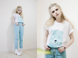 We Are Hairy People - Hand Painted Bear Tee, Pastel Jeans, White Booties - Grizzly