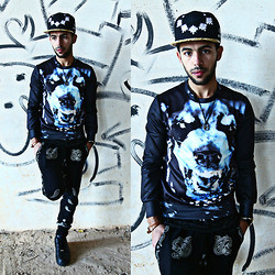 Khalil Alaoui - Choies 40 Oz Nyc, Choies Dog Print Sweater, Zealotries Pant, Nike Air Force - Don't Blame Me !