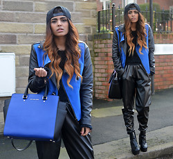 Kavita D - Boy London Cap, Missguided Furry Black Sweater, Sheinside Blue And Black Leather Aviator Sweater, Missguided Faux Leather Joggers, Choies Leather Cleated Sole Boots, Michael Kors Selma Bag In Blue - Right there.