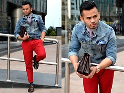 Paul Ramos - H&M Denim Jacket, American Eagle Outfitters Longsleeves Shirt, H&M Neck Tie, Andrew's Ties Pocket Square, American Eagle Outfitters Red Pants, Ted Baker Printed Socks, Iconic Wing Tips - Rough Redness