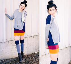 Chelsea Den - Gap Double Sided Sweater, Thrifted Skirt, Urban Outfitters Thigh High Socks, Pour La Victoire Boots, Rowsden Brown Leather Tassel - Pretty As A Flower