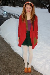 Chelsey Knuth - Margaret Winters Ny Oversized Cardigan, Mossimo Purple Tank Top, Forever 21 Forest Green Button Up Skirt, Forever 21 White Opaque Tights, Pikolinos Retro Flats - Phase Out