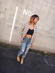 Yessenia L. - Thrifted Plaid Long Sleeve, Motel Rocks Caged Crop Top, Forever 21 Boyfriend Jeans, Lolashoetique Cutout Pointed Ankle Boots - Cropping
