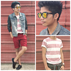 Bryan Laroza - Markus Denim Leather Jacket, Diy Burgundy Shorts, Oxygen Spikes Wayfarer, Tee Culture Stripes Shirt, Bench/ Shoes - Touch of Grunge