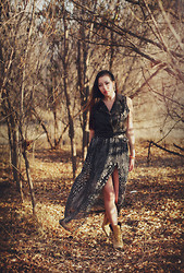 Audrey Nguyen - Target Vest, G Stage Strapless Printed Maxi Dress, Steven Madden Boots, Primark Ear Cuff - Medase, m'adamfo