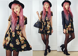 Amy Valentine - H&M Spike Fedora, Poppy Lux Floral Missy Dress, Vivienne Westwood Bowling Bag, Boohoo Fringe Leather Jacket, Dolcis Stud Ankle Boots - AMBIENCE/LIMOUSINE