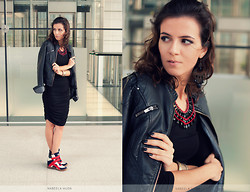 Susanna Vesna - Moa Earrings & Necklace, Zara Leather Jacket, H&M Basic Black Dress, Buffalo Wedged Sneakers - Playing With The Unknown
