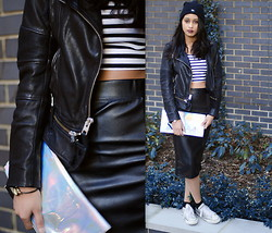 Alida Leclercq - All Saints Leather Jacket, Urban Outfitters Skirt, Topshop Cluth, Converse Shoes - Lazuli